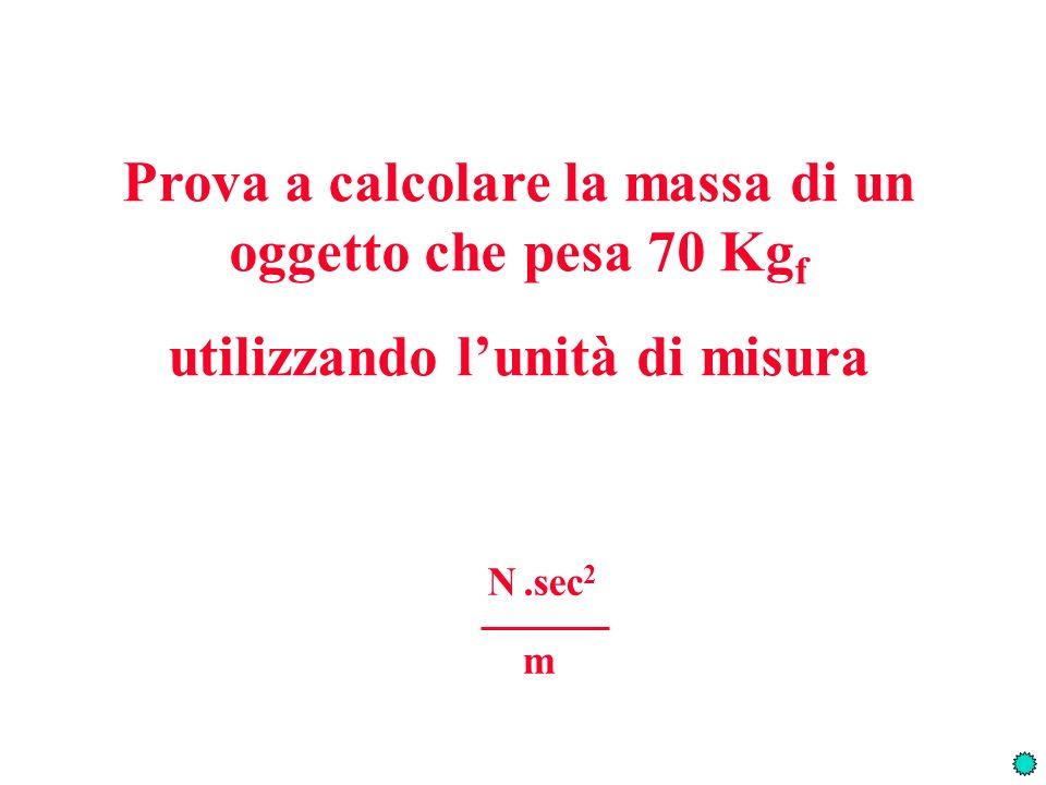 Prova a calcolare la massa di un oggetto che pesa 70 Kgf