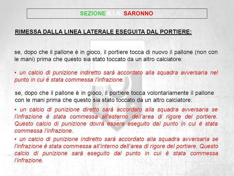SEZIONE A.I.A. SARONNORIMESSA DALLA LINEA LATERALE ESEGUITA DAL PORTIERE: