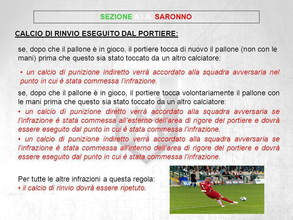 SEZIONE A.I.A. SARONNO CALCIO DI RINVIO ESEGUITO DAL PORTIERE: