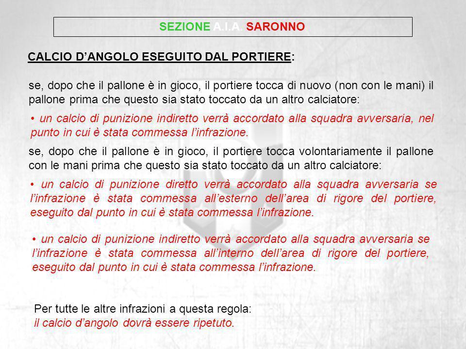 SEZIONE A.I.A. SARONNOCALCIO D'ANGOLO ESEGUITO DAL PORTIERE: