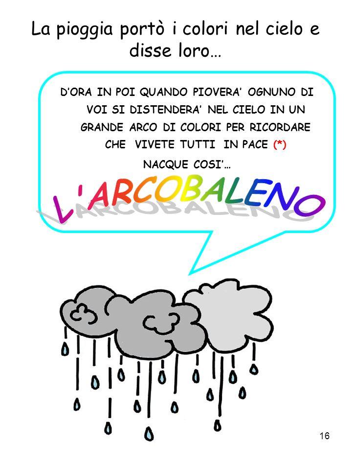 La pioggia portò i colori nel cielo e disse loro…