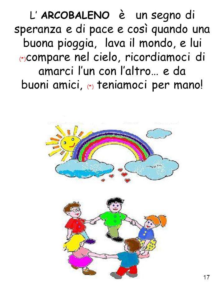 L' ARCOBALENO è un segno di speranza e di pace e così quando una buona pioggia, lava il mondo, e lui (*)compare nel cielo, ricordiamoci di amarci l'un con l'altro… e da buoni amici, (*) teniamoci per mano!
