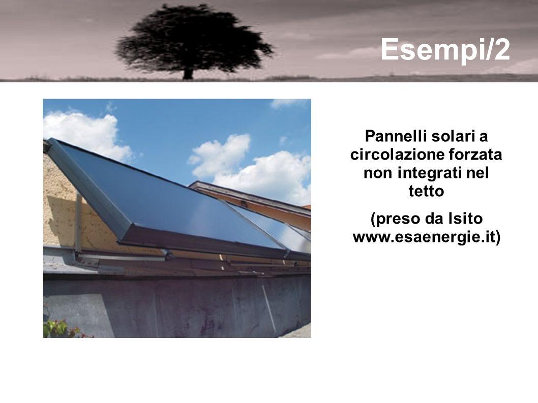Esempi/2 Pannelli solari a circolazione forzata non integrati nel tetto.