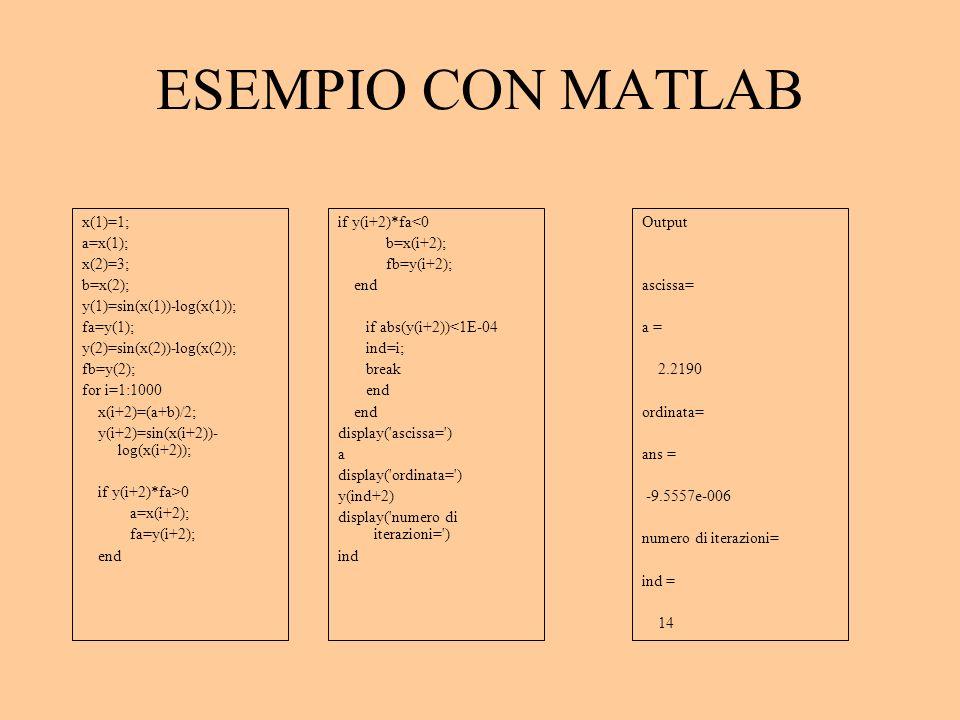 ESEMPIO CON MATLAB x(1)=1; a=x(1); x(2)=3; b=x(2);