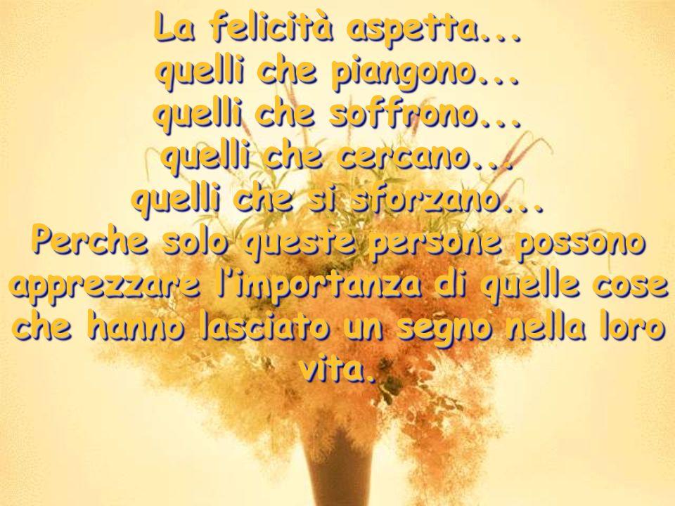 La felicità aspetta... quelli che piangono... quelli che soffrono... quelli che cercano... quelli che si sforzano...