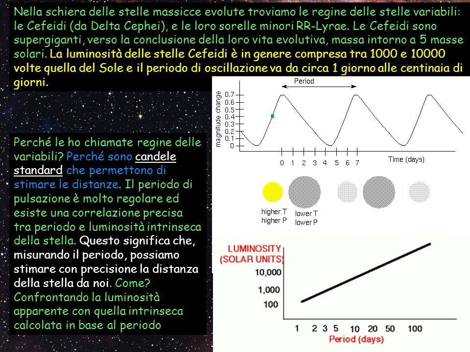 Nella schiera delle stelle massicce evolute troviamo le regine delle stelle variabili: le Cefeidi (da Delta Cephei), e le loro sorelle minori RR-Lyrae. Le Cefeidi sono supergiganti, verso la conclusione della loro vita evolutiva, massa intorno a 5 masse solari. La luminosità delle stelle Cefeidi è in genere compresa tra 1000 e 10000 volte quella del Sole e il periodo di oscillazione va da circa 1 giorno alle centinaia di giorni.