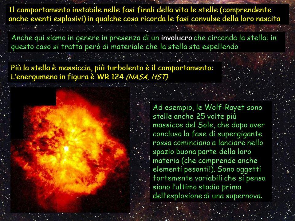 Il comportamento instabile nelle fasi finali della vita le stelle (comprendente anche eventi esplosivi) in qualche cosa ricorda le fasi convulse della loro nascita