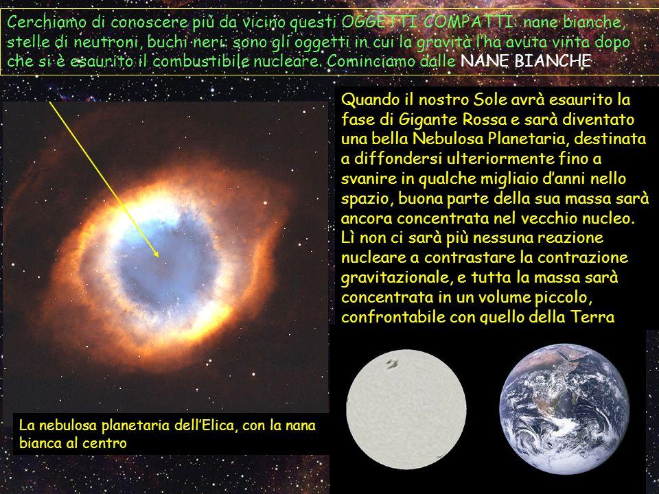 Cerchiamo di conoscere più da vicino questi OGGETTI COMPATTI: nane bianche, stelle di neutroni, buchi neri: sono gli oggetti in cui la gravità l'ha avuta vinta dopo che si è esaurito il combustibile nucleare. Cominciamo dalle NANE BIANCHE