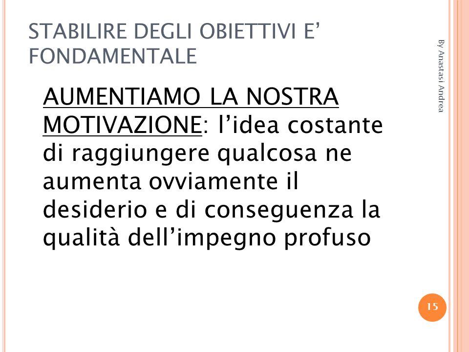 STABILIRE DEGLI OBIETTIVI E' FONDAMENTALE