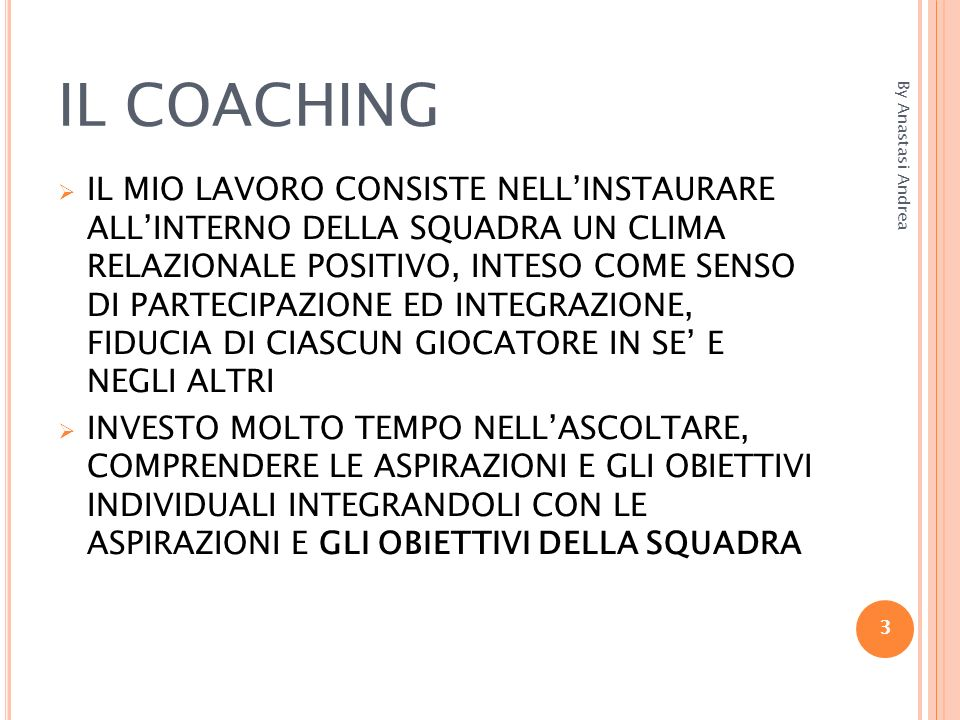IL COACHING By Anastasi Andrea.