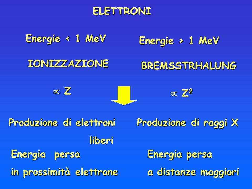 ELETTRONIEnergie < 1 MeV. Energie > 1 MeV. IONIZZAZIONE. BREMSSTRHALUNG.  Z.  Z2. Produzione di elettroni.