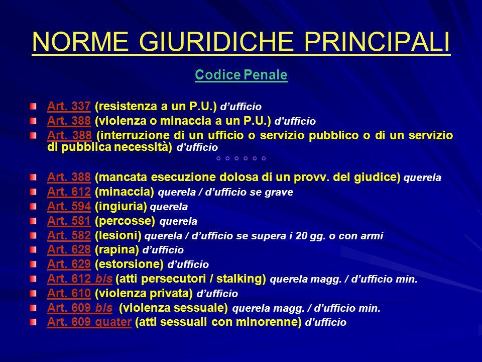 NORME GIURIDICHE PRINCIPALI