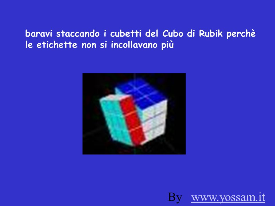 baravi staccando i cubetti del Cubo di Rubik perchè le etichette non si incollavano più