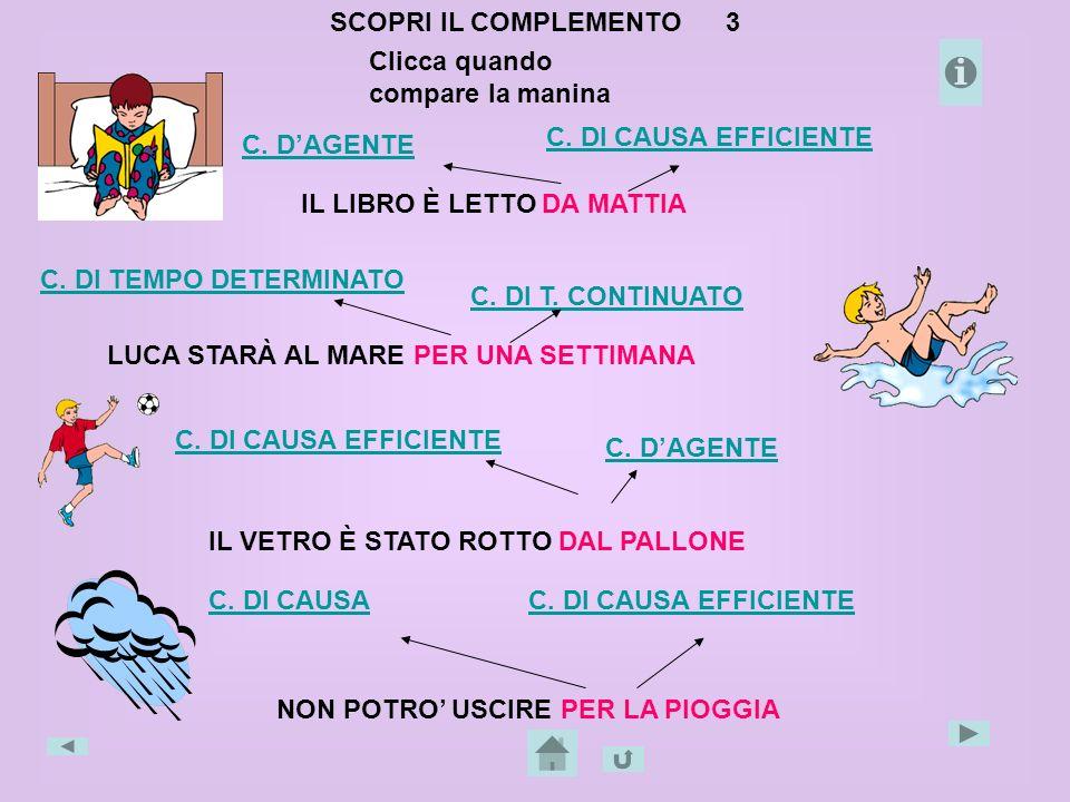 SCOPRI IL COMPLEMENTO 3 Clicca quando compare la manina. C. DI CAUSA EFFICIENTE. C. D'AGENTE.