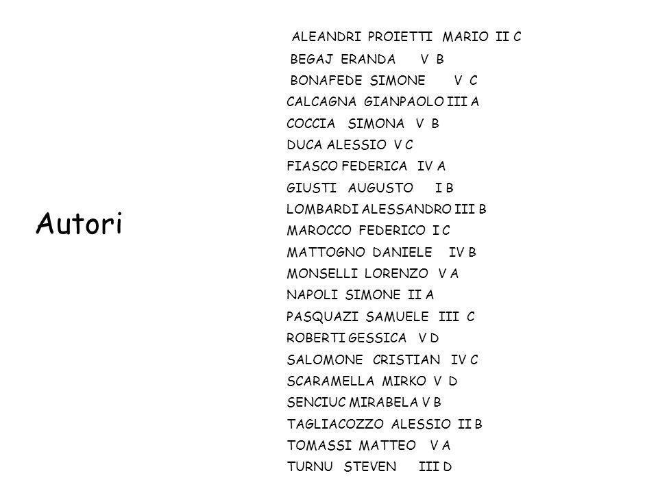 Autori ALEANDRI PROIETTI MARIO II C BEGAJ ERANDA V B