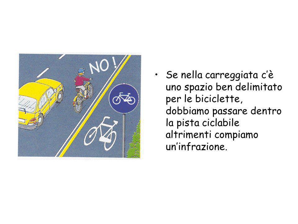 Se nella carreggiata c'è uno spazio ben delimitato per le biciclette, dobbiamo passare dentro la pista ciclabile altrimenti compiamo un'infrazione.