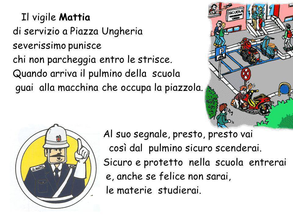 Il vigile Mattia di servizio a Piazza Ungheria. severissimo punisce. chi non parcheggia entro le strisce.