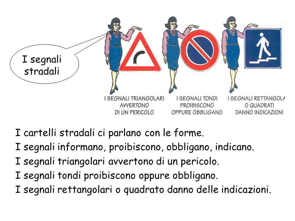 I segnali stradali I cartelli stradali ci parlano con le forme. I segnali informano, proibiscono, obbligano, indicano.