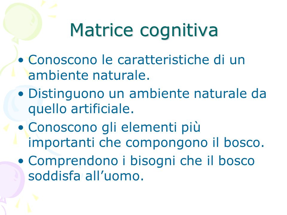Matrice cognitiva Conoscono le caratteristiche di un ambiente naturale. Distinguono un ambiente naturale da quello artificiale.