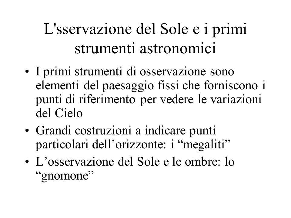 L sservazione del Sole e i primi strumenti astronomici