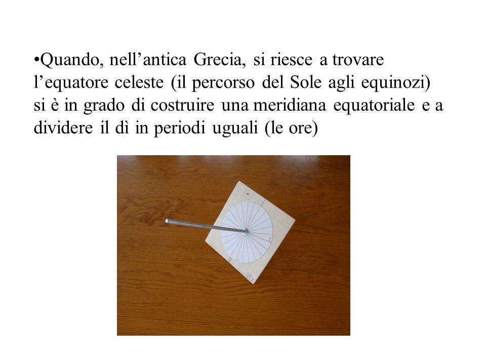 Quando, nell'antica Grecia, si riesce a trovare l'equatore celeste (il percorso del Sole agli equinozi) si è in grado di costruire una meridiana equatoriale e a dividere il dì in periodi uguali (le ore)