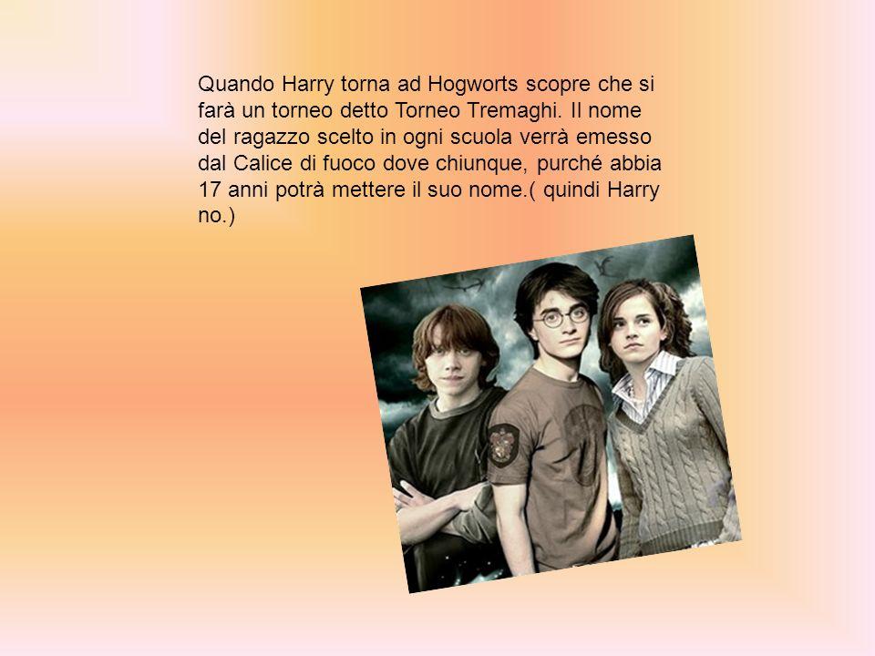 Quando Harry torna ad Hogworts scopre che si farà un torneo detto Torneo Tremaghi.