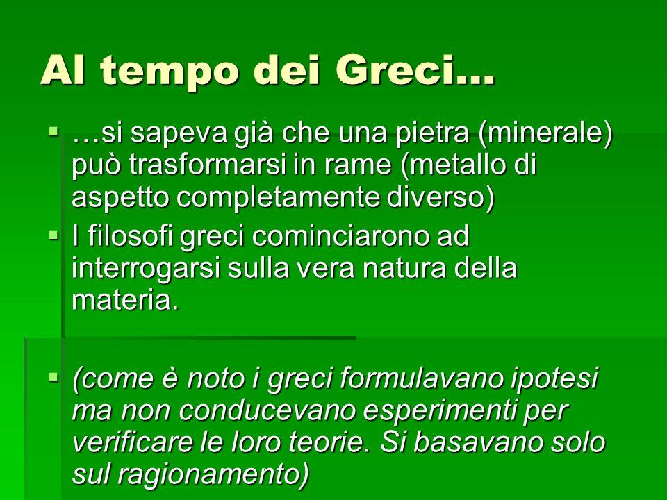 Al tempo dei Greci… …si sapeva già che una pietra (minerale) può trasformarsi in rame (metallo di aspetto completamente diverso)