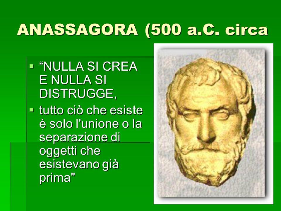 ANASSAGORA (500 a.C. circa NULLA SI CREA E NULLA SI DISTRUGGE,