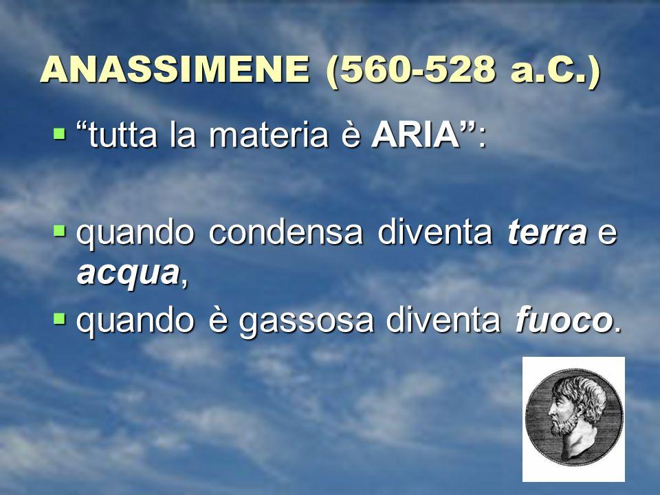ANASSIMENE (560-528 a.C.) tutta la materia è ARIA : quando condensa diventa terra e acqua, quando è gassosa diventa fuoco.
