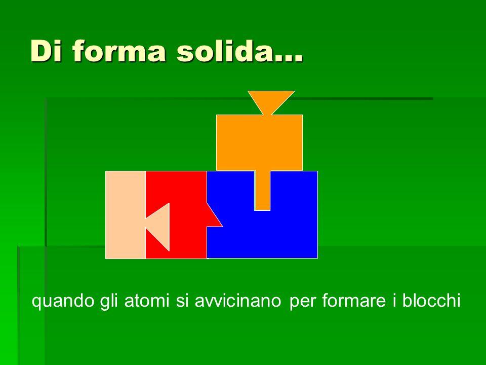 Di forma solida… quando gli atomi si avvicinano per formare i blocchi