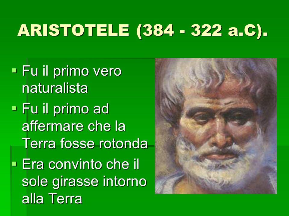 ARISTOTELE (384 - 322 a.C). Fu il primo vero naturalista