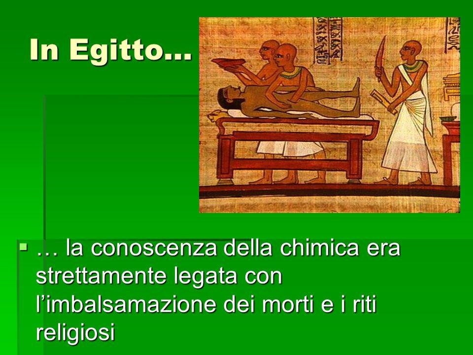 In Egitto… … la conoscenza della chimica era strettamente legata con l'imbalsamazione dei morti e i riti religiosi.