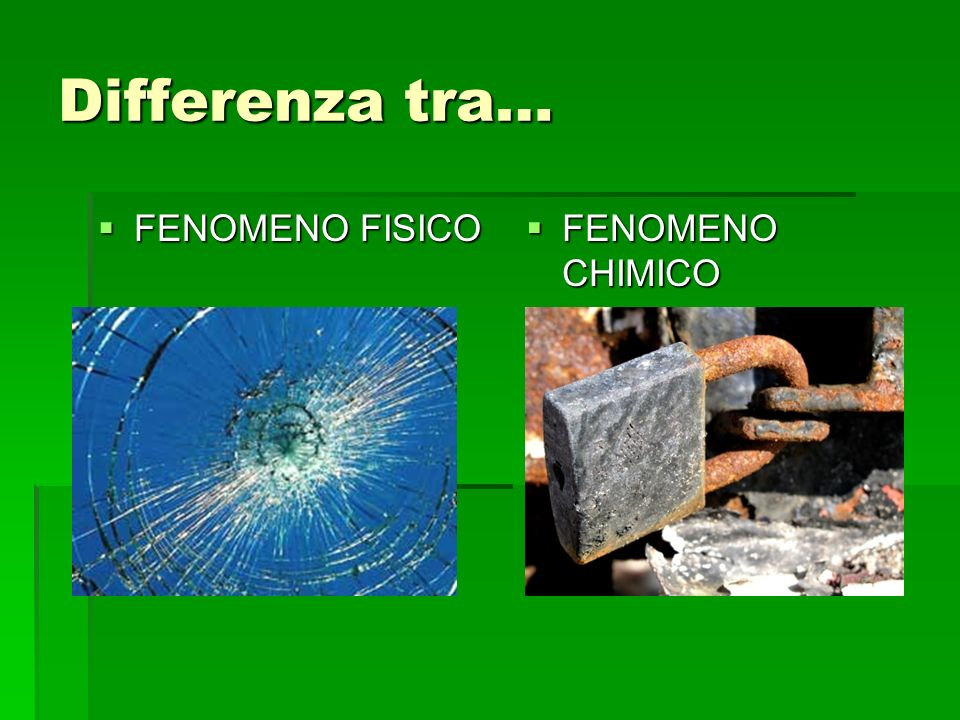 Differenza tra… FENOMENO FISICO FENOMENO CHIMICO