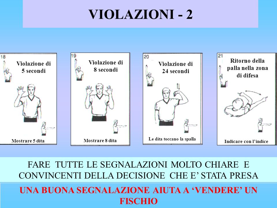 VIOLAZIONI - 2 Mostrare 5 dita. Violazione di 5 secondi. EIGHT SECOND VIOLATION. Show 8 fingers.