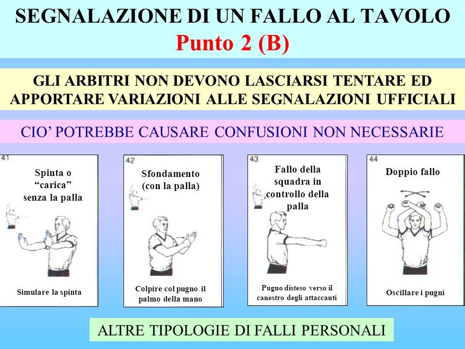 SEGNALAZIONE DI UN FALLO AL TAVOLO Punto 2 (B)