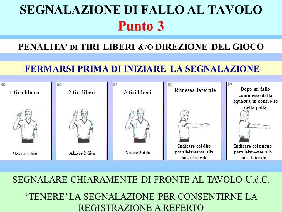 SEGNALAZIONE DI FALLO AL TAVOLO Punto 3