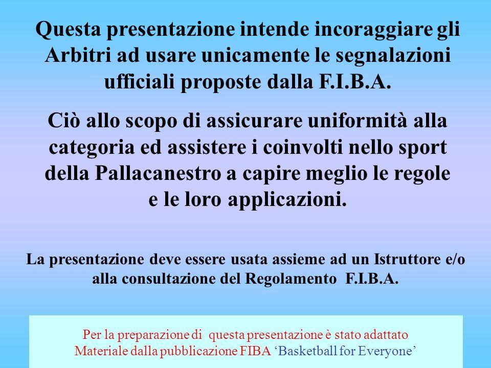 Questa presentazione intende incoraggiare gli Arbitri ad usare unicamente le segnalazioni ufficiali proposte dalla F.I.B.A.