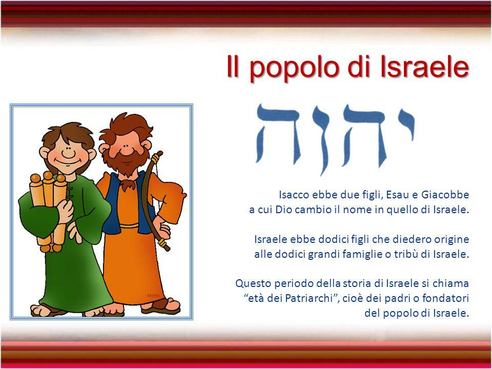 Il popolo di Israele Isacco ebbe due figli, Esau e Giacobbe a cui Dio cambio il nome in quello di Israele.