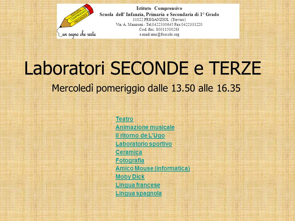 Laboratori SECONDE e TERZE