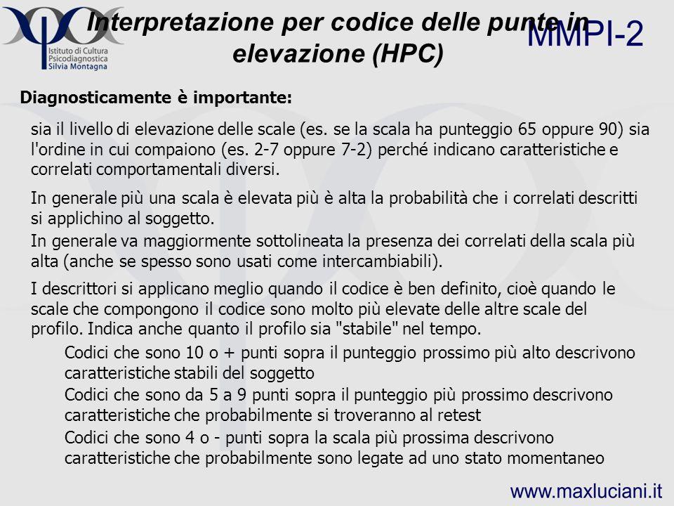 Interpretazione per codice delle punte in elevazione (HPC)