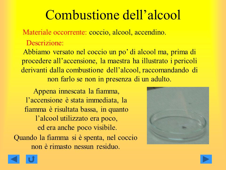 Combustione dell'alcool
