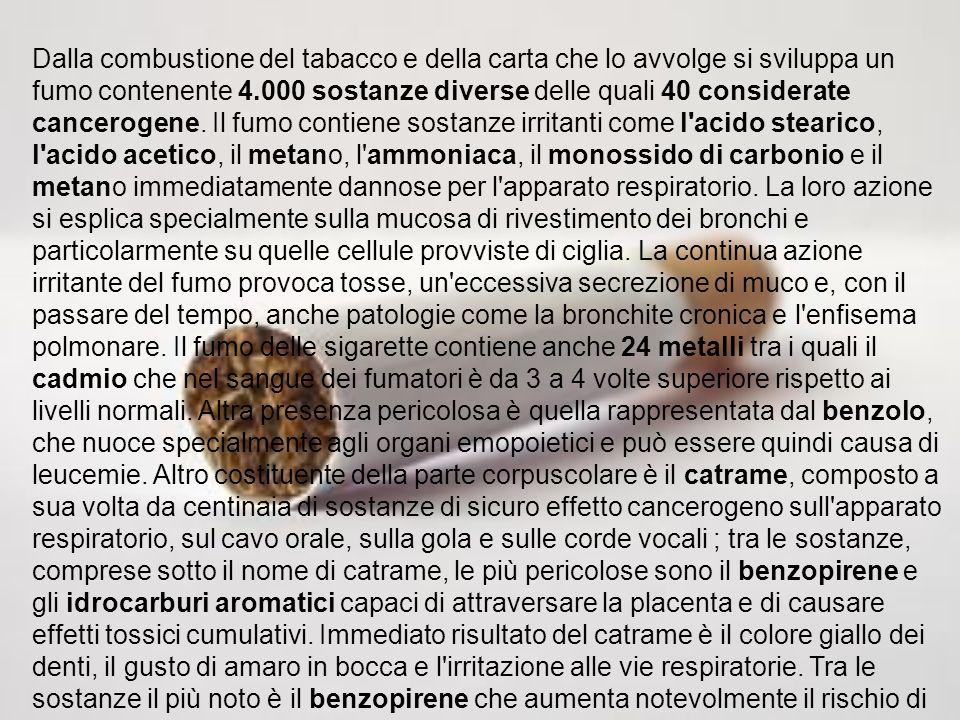 Dalla combustione del tabacco e della carta che lo avvolge si sviluppa un fumo contenente 4.000 sostanze diverse delle quali 40 considerate cancerogene.