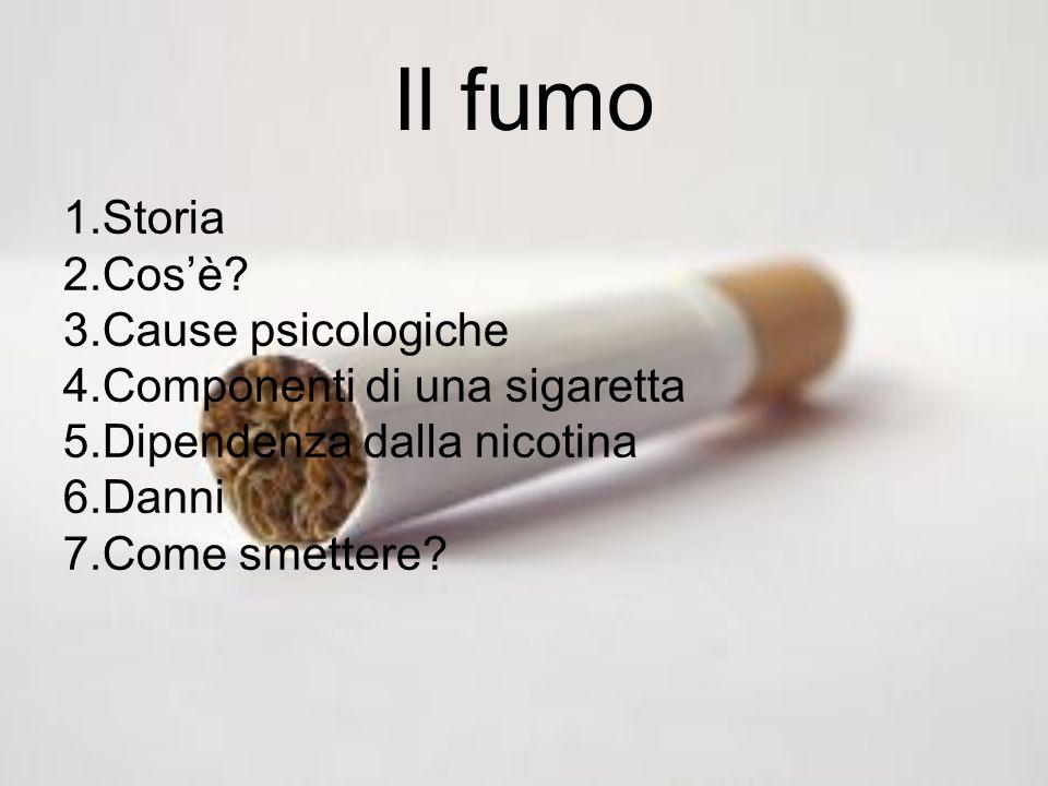 Il fumo Storia Cos'è Cause psicologiche Componenti di una sigaretta