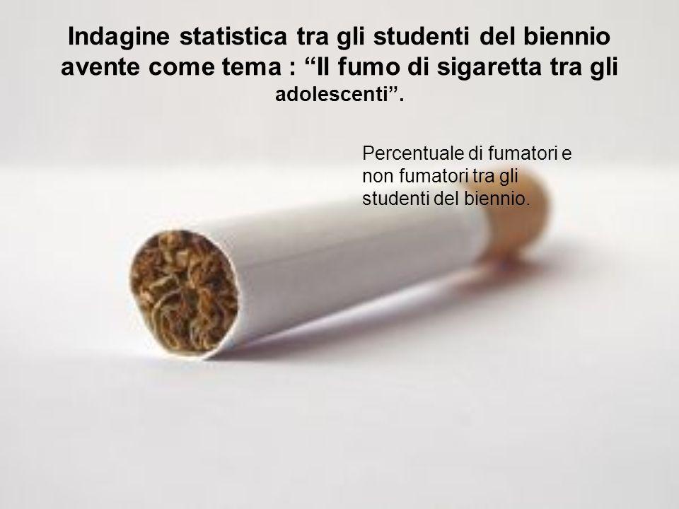 Indagine statistica tra gli studenti del biennio avente come tema : Il fumo di sigaretta tra gli adolescenti .