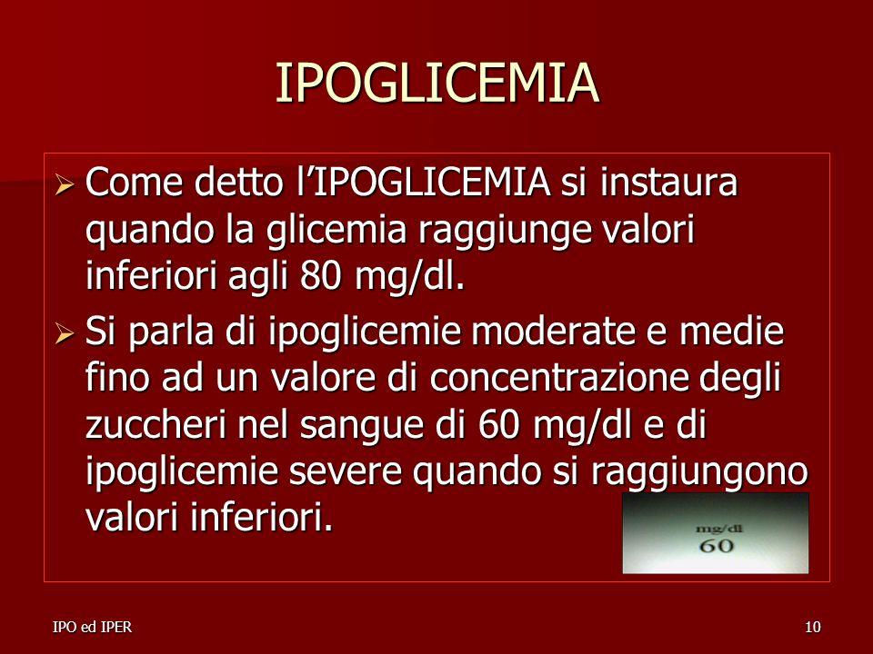 IPOGLICEMIA Come detto l'IPOGLICEMIA si instaura quando la glicemia raggiunge valori inferiori agli 80 mg/dl.