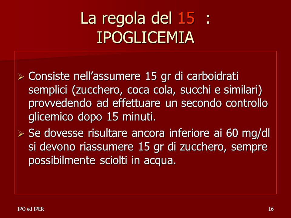 La regola del 15 : IPOGLICEMIA