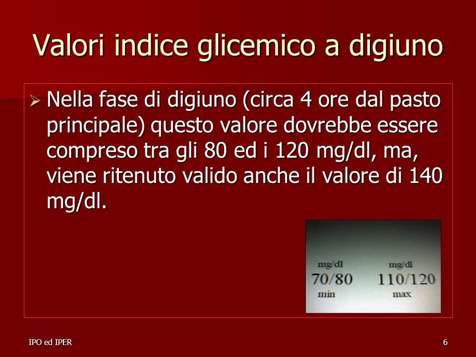 Valori indice glicemico a digiuno