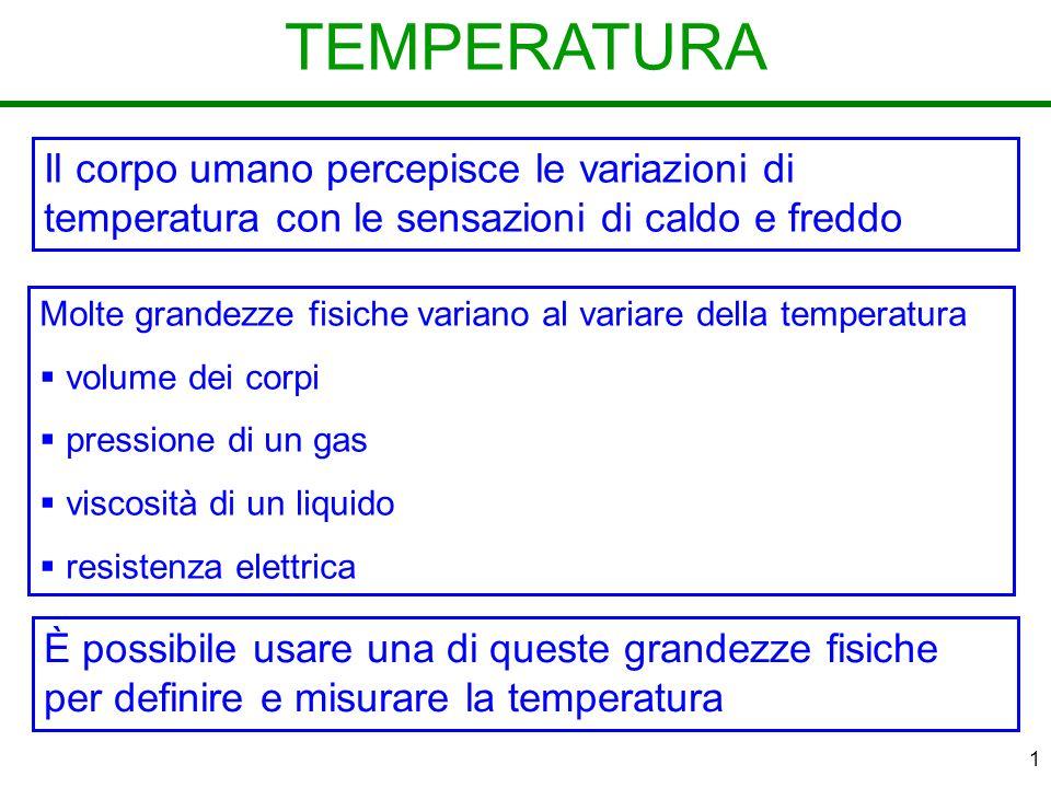 TEMPERATURA Il corpo umano percepisce le variazioni di temperatura con le sensazioni di caldo e freddo.