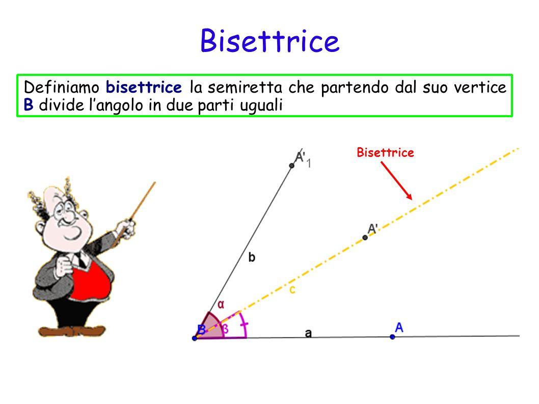 Bisettrice Definiamo bisettrice la semiretta che partendo dal suo vertice B divide l'angolo in due parti uguali.