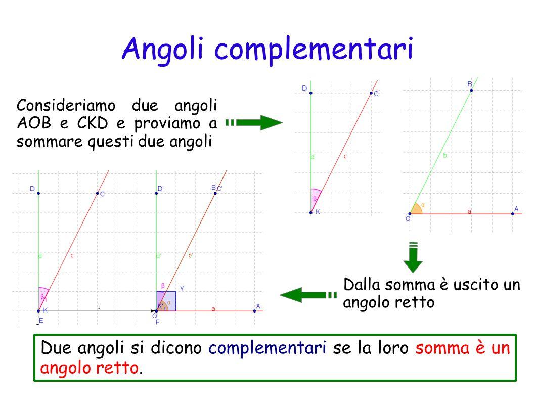 Angoli complementari Consideriamo due angoli AOB e CKD e proviamo a sommare questi due angoli. Dalla somma è uscito un.